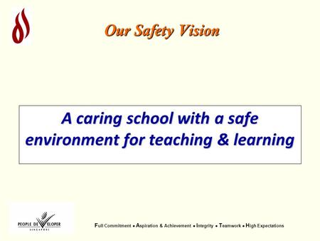 F ull Commitment  A spiration & Achievement  I ntegrity  T eamwork  H igh Expectations Our Safety Vision A caring school with a safe environment for.