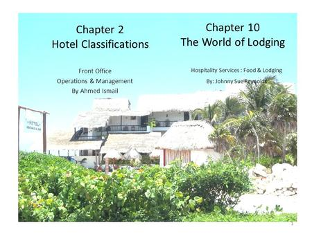1 Chapter 2 Hotel Classifications Front Office Operations & Management By Ahmed Ismail 1 Hospitality Services : Food & Lodging By: Johnny Sue Reynolds.