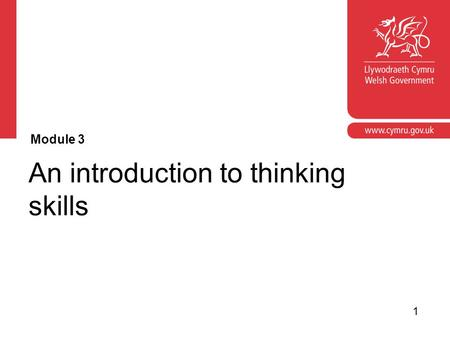 Corporate slide master With guidelines for corporate presentations An introduction to thinking skills Module 3 1.