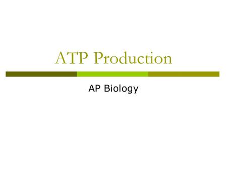 ATP Production AP Biology. Overview: Life Is Work  Living cells require energy from outside sources  Some animals, such as the giant panda, obtain energy.