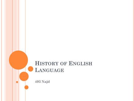 H ISTORY OF E NGLISH L ANGUAGE 493 Najd. H ISTORY OF E NGLISH L ANGUAGE The English language belongs to the West Germanic branch of the Indo-European.