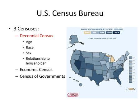 U.S. Census Bureau 3 Censuses: – Decennial Census Age Race Sex Relationship to householder – Economic Census – Census of Governments.