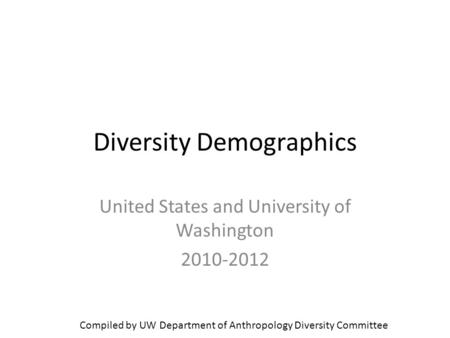 Diversity Demographics United States and University of Washington 2010-2012 Compiled by UW Department of Anthropology Diversity Committee.