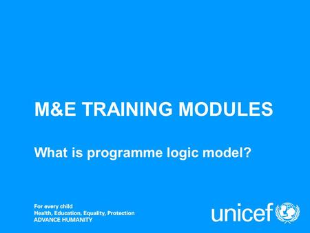 M&E TRAINING MODULES What is programme logic model?