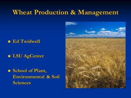 Wheat Production & Management Ed Twidwell Ed Twidwell LSU AgCenter LSU AgCenter School of Plant, Environmental & Soil Sciences School of Plant, Environmental.