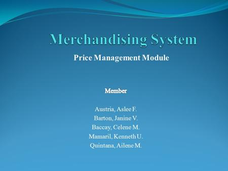 Price Management Module