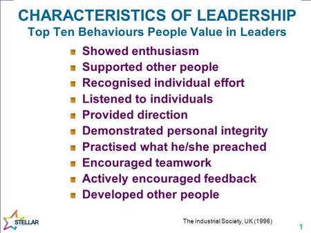 1 CHARACTERISTICS OF LEADERSHIP Top Ten Behaviours People Value in Leaders Showed enthusiasm Supported other people Recognised individual effort Listened.
