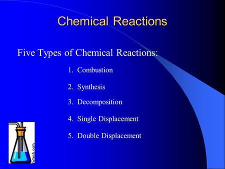 Chemical Reactions Five Types of Chemical Reactions: 1. Combustion