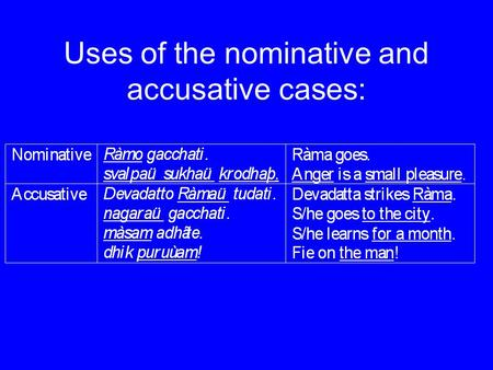 Uses of the nominative and accusative cases:. Adpositions governing the accusative: