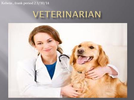 Kelwin, frank period 2 3/10/14.  Veterinarian is a physician who has been educated and trained by an accredited institution to diagnose and treat diseases.
