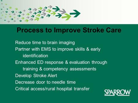 Process to Improve Stroke Care Reduce time to brain imaging Partner with EMS to improve skills & early identification Enhanced ED response & evaluation.