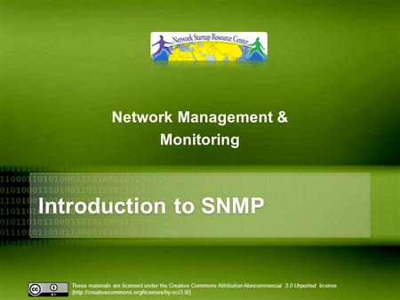 10/26/10 Network Management & Monitoring Introduction to SNMP.