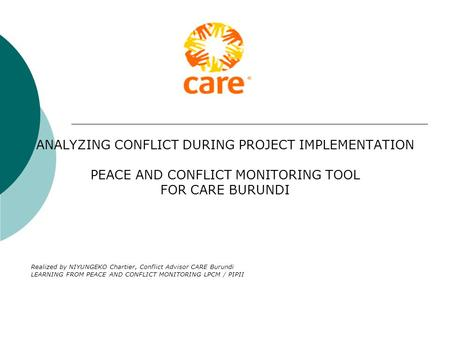 ANALYZING CONFLICT DURING PROJECT IMPLEMENTATION