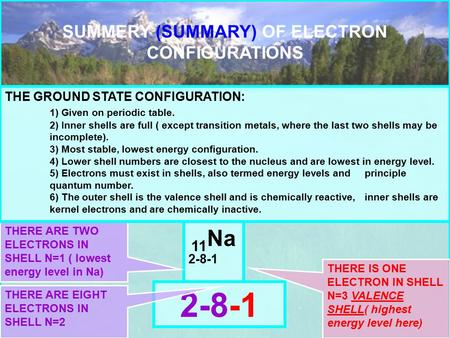 SUMMERY (SUMMARY) OF ELECTRON CONFIGURATIONS 11 Na 2-8-1 THERE ARE TWO ELECTRONS IN SHELL N=1 ( lowest energy level in Na) THE GROUND STATE CONFIGURATION: