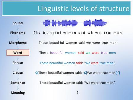 Linguistic levels of structure Sound Phoneme Morpheme Word Phrase Clause Sentence Meaning ð iː z b juː t ə f ʊ l w ɪ m ɪ n s ɛ d w iː w ɜː t r uː m ɛ n.