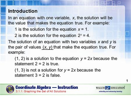 Introduction In an equation with one variable, x, the solution will be the value that makes the equation true. For example: 1 is the solution for the equation.