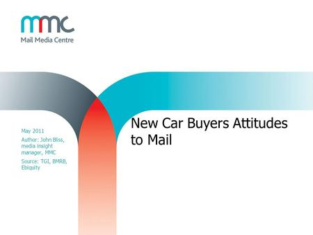New Car Buyers Attitudes to Mail May 2011 Author: John Bliss, media insight manager, MMC Source: TGI, BMRB, Ebiquity.