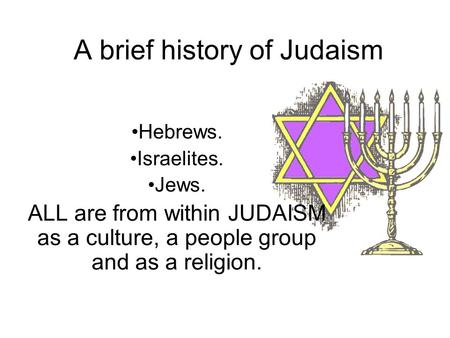 A brief history of Judaism Hebrews. Israelites. Jews. ALL are from within JUDAISM as a culture, a people group and as a religion.