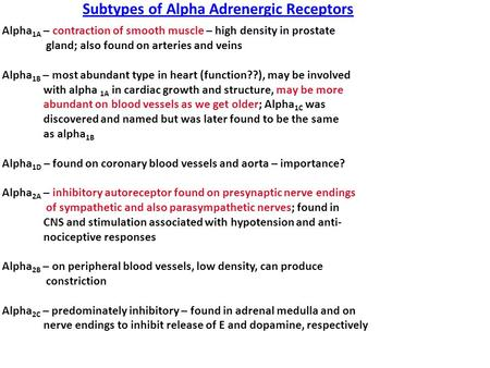 Subtypes of Alpha Adrenergic Receptors