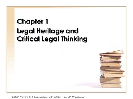 Chapter 1 Legal Heritage and Critical Legal Thinking