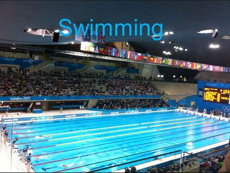 Swimming. Facts about swimming ~ The size of an Olympic pool is 50m but they swim 100m ~ The four strokes Olympians compete in are freestyle, backstroke,