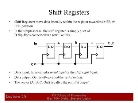 1 KU College of Engineering Elec 204: Digital Systems Design Lecture 19 Shift Registers Shift Registers move data laterally within the register toward.