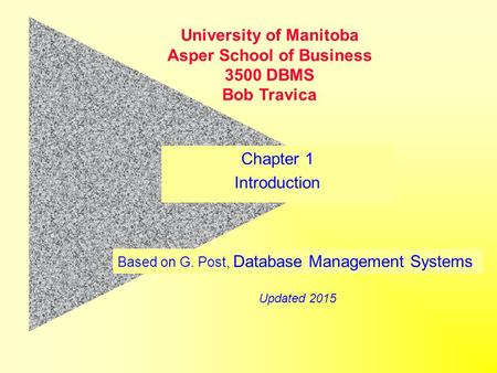 Based on G. Post, Database Management Systems University of Manitoba Asper School of Business 3500 DBMS Bob Travica Updated 2015 Chapter 1 Introduction.