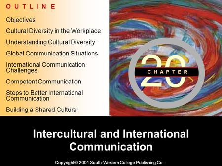 Learning Objective Chapter 20: Intercultural and International Communication Intercultural and International Communication Copyright © 2001 South-Western.