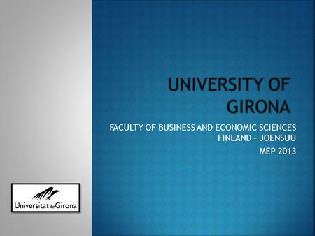 FACULTY OF BUSINESS AND ECONOMIC SCIENCES FINLAND – JOENSUU MEP 2013.