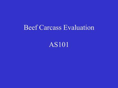 Beef Carcass Evaluation AS101. Beef Packing Industry Packing Plants –Tyson, JBS, CMS, National –Daily Slaughter Capacity 128,000 82% steers & heifers.