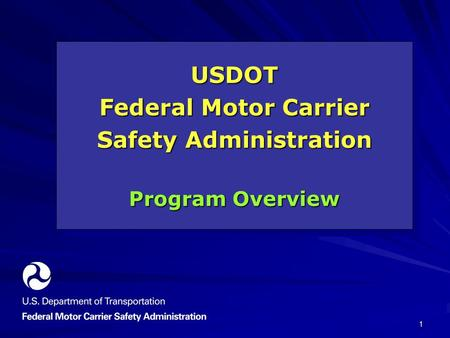 1 USDOT Federal Motor Carrier Safety Administration Program Overview USDOT Federal Motor Carrier Safety Administration Program Overview.
