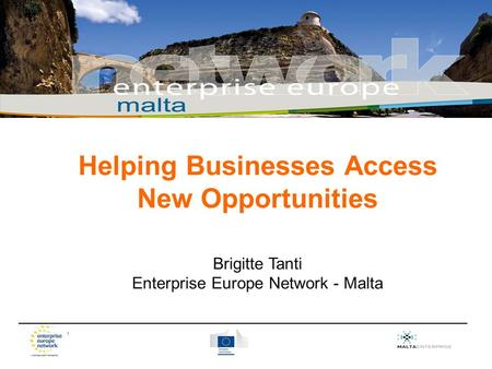 _________________________________________________________________________ Helping Businesses Access New Opportunities Brigitte Tanti Enterprise Europe.