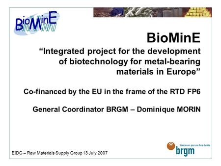 "BioMinE ""Integrated project for the development of biotechnology for metal-bearing materials in Europe"" Co-financed by the EU in the frame of the RTD FP6."