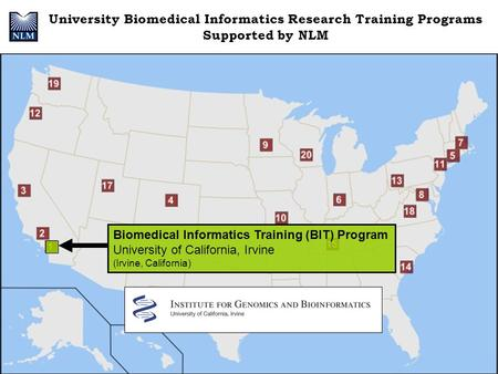 University Biomedical Informatics Research Training Programs Supported by NLM Biomedical Informatics Training (BIT) Program University of California, Irvine.