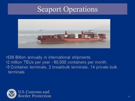 1 Seaport Operations $39 Billion annually in international shipments 2 million TEUs per year - 60,000 containers per month. 3 Container terminals, 2 breakbulk.