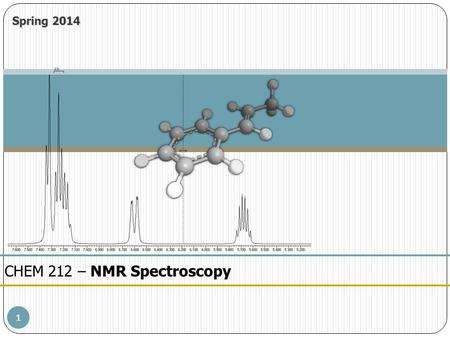 1 CHEM 212 – NMR Spectroscopy Spring 2014. 2 Spectral Analysis – 1 H NMRNMR Spectroscopy NMR Spectral Analysis – Introductory 1 H NMR 1.NMR is rarely.