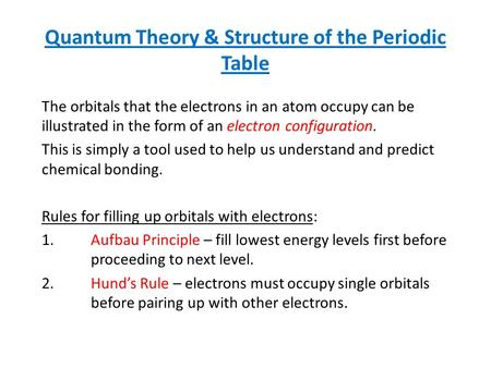 Quantum Theory & Structure of the Periodic Table The orbitals that the electrons in an atom occupy can be illustrated in the form of an electron configuration.
