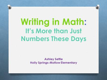 Writing in Math: It's More than Just Numbers These Days Ashley Settle Holly Springs-Motlow Elementary.
