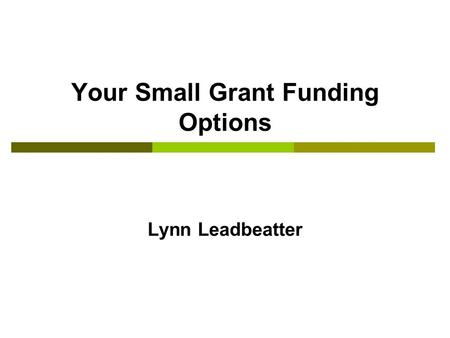 Your Small Grant Funding Options Lynn Leadbeatter.