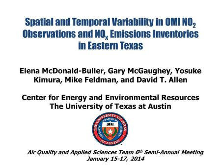 Spatial and Temporal Variability in OMI NO 2 Observations and NO x Emissions Inventories in Eastern Texas Elena McDonald-Buller, Gary McGaughey, Yosuke.