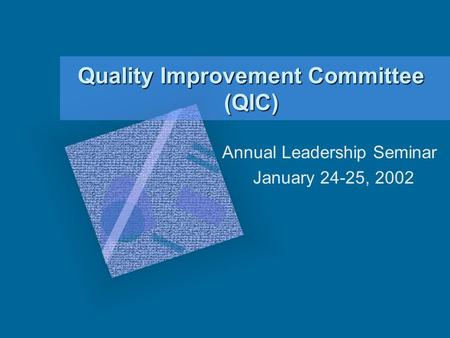 Quality Improvement Committee (QIC) Annual Leadership Seminar January 24-25, 2002.
