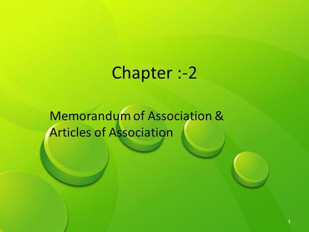 Memorandum & Article of Association