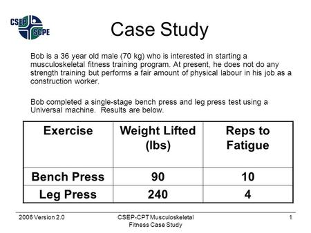 2006 Version 2.0CSEP-CPT Musculoskeletal Fitness Case Study 1 Case Study Bob is a 36 year old male (70 kg) who is interested in starting a musculoskeletal.