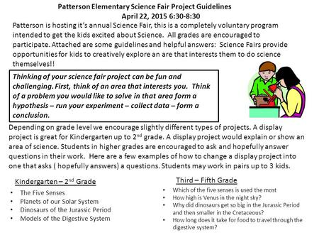 Patterson Elementary Science Fair Project Guidelines
