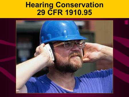Hearing Conservation 29 CFR 1910.95. Hearing Loss Can you imagine not being able to: –Hear music? –Listen to the sounds of nature? –Socialize with your.