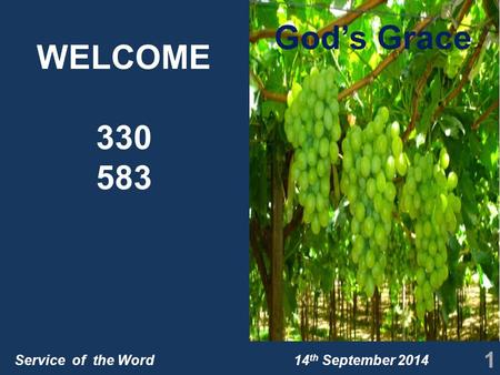 Service of the Word 14 th September 2014 WELCOME 330 583 1 God's Grace.