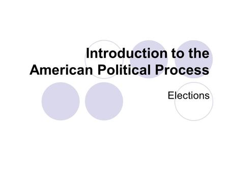 Introduction to the American Political Process Elections.