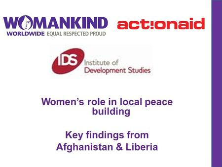 Women's role in local peace building