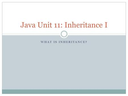 WHAT IS INHERITANCE? Java Unit 11: Inheritance I.