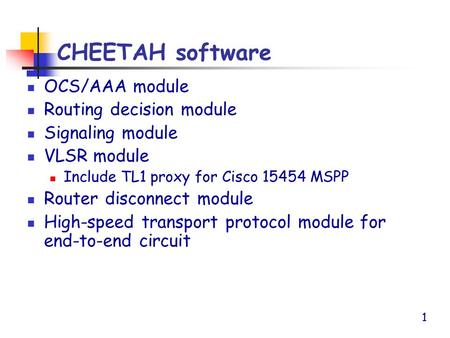 1 CHEETAH software OCS/AAA module Routing decision module Signaling module VLSR module Include TL1 proxy for Cisco 15454 MSPP Router disconnect module.